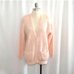 Vintage 1980's Evan Picone Sequins Wool Cardigan